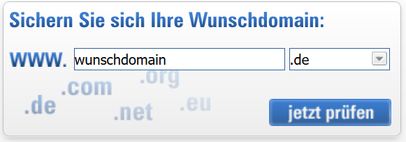 Nach der Domain suchen - z.B. bei Alfahosting.