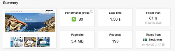 Die Geschwindigkeit von Wix: Seiten laden recht schnell