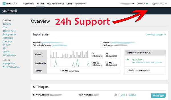 Die Benutzeroberfläche bei WP Engine