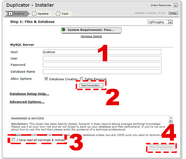 Duplicator Datenbank installieren