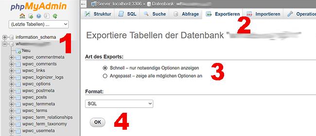 WordPress Datenbank in PHPmyadmin exportieren
