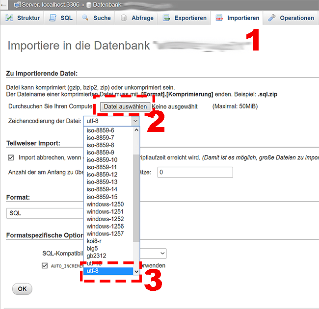 WordPress Datenbank in PHPmyadmin importieren