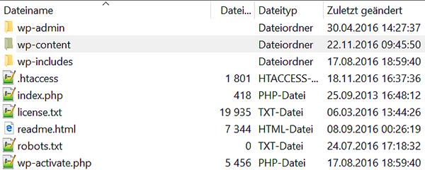 Die Dateien beim WordPress Umzug operieren