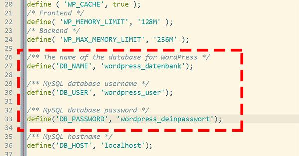 WordPress Datenbank zuweisen per wpconfig