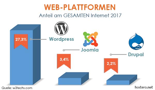Anteile verschiedener Plattformen am GESAMTEN Internet 2017
