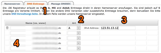 IP adresse des Webservers eintragen