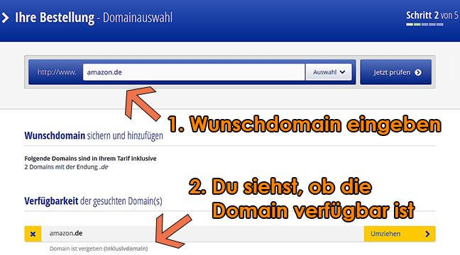 Bei der Registrierung den richtigen Domainnamen auswählen.