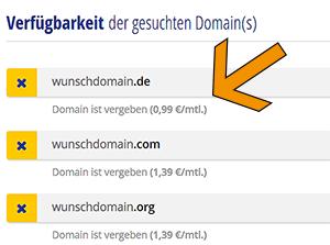 vergebene domain registrieren